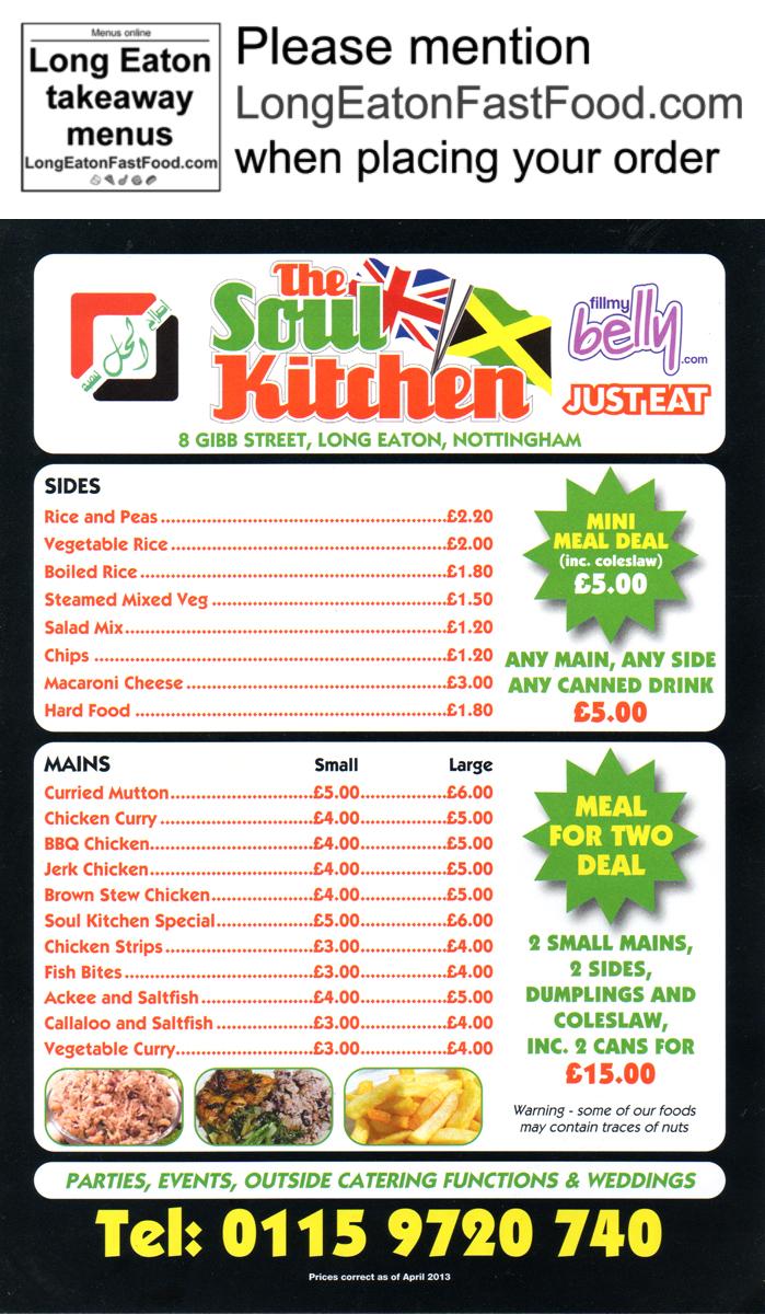 The soul kitchen long eaton takeaway menus for Soul fish menu